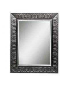 Rectangular Silver Wall Mirror with Embossed Frame