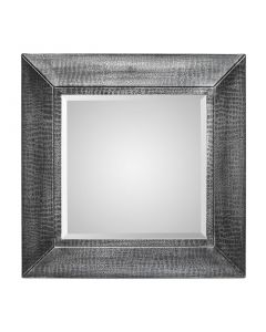Square Silver Wall Mirror - Croc Pattern