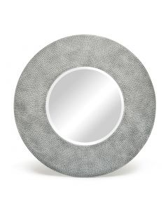 Round Silver Bevelled Wall Mirror with Iron Croc Pattern Frame