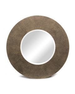 Round Gold Wall Mirror with Iron Croc Pattern Frame and Bevelled Mirror
