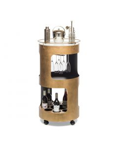 Round Drinks Bar Trolley with Marble Top