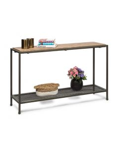 Industrial Style Hall Table with Wood Top