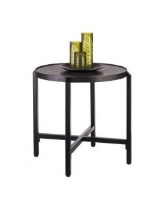 Small Round Black Side Lamp Table with Copper Finish Top