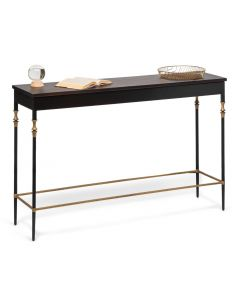 Sleek Gold Black Hallway Console Table with Finial Legs and Wood Top
