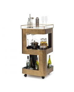Modern Bar Trolley Cart in French Brass Colour