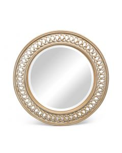 Round Wood Gold Wall Mirror