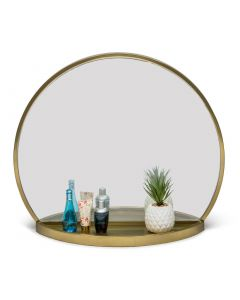 Round Arch Wall Table Mirror with Shelf in Brass Finish