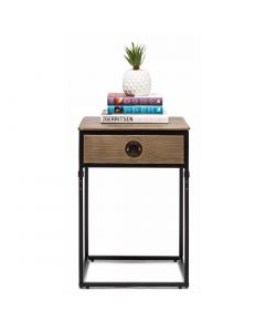 Contemporary Iron Side Table with Storage Drawer
