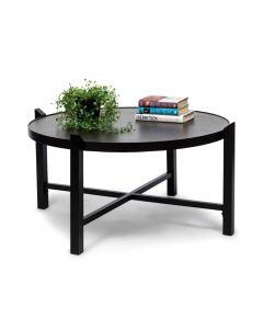 Modern Round Black Coffee Table with Copper Finish Top