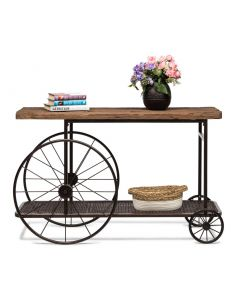 Industrial Wood Top Hallway Console Table with Wheels