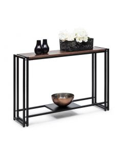 Black Narrow Hallway Table with Textured Copper Finish Top