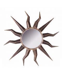 Sunburst Iron Wall Mirror with Burnt Brass Finish