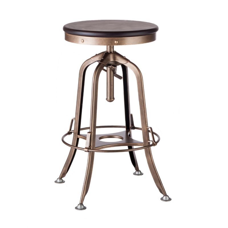 7f214ee2d6e Industrial Iron Bar Stool with Wood Top – French Brass