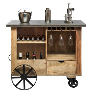 Industrial Bar Cart Cabinet