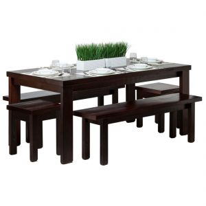 Reclaimed Wooden Dining Table Set 1.8m - Walnut