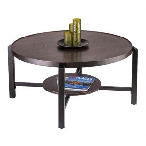 Round 2 Tier Iron Coffee Table with Copper Finish
