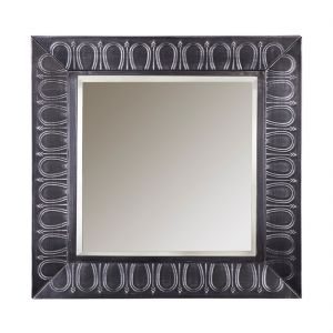 Square Silver Wall Mirror with Embossed Frame