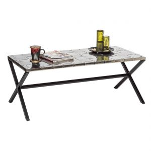 Iron Coffee Table with Woven Stainless Steel Top