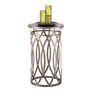 Round Designer Iron Side Table - Brass Finish
