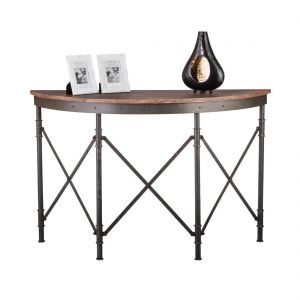 Half Round Iron Console Table with Rustic Wood Top