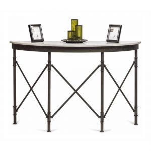 Half Round Industrial Console Table with Marble Top