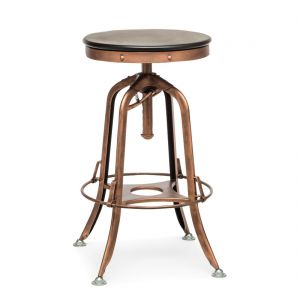 Industrial Adjustable Swivel Bar Stool with Wood Top – Antique Copper