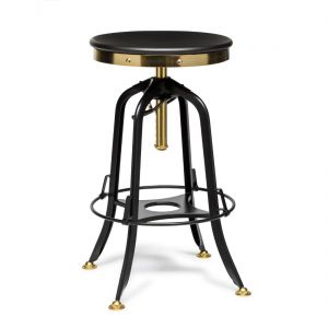Industrial Adjustable Swivel Bar Stool with Wood Top – Gold Black