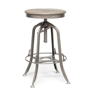 Industrial Adjustable Swivel Bar Stool with Oak Wood Top - Grey