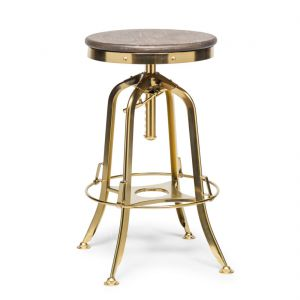 Industrial Adjustable Swivel Bar Stool with Oak Wood Top - Gold