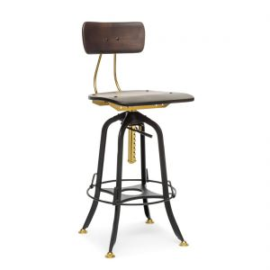Industrial Wooden Iron Swivel Bar Stool Chair with Wood Top - Gold Black