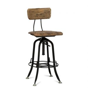 Industrial Wooden Iron Bar Stool Chair - Black Rustic