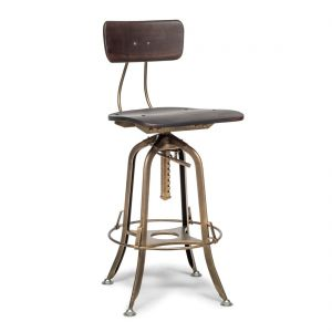 Industrial Wooden Iron Swivel Bar Stool Chair - Dark French Brass