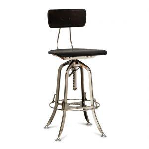 Industrial Wooden Iron Bar Stool Chair - Nickel Black