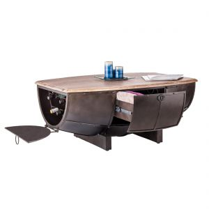 Half Barrel Coffee Table with Wood Top
