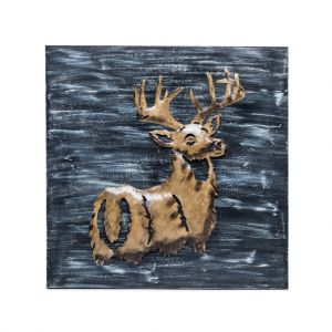 3D Wall Art Display Deer Wooden Iron Home Decor