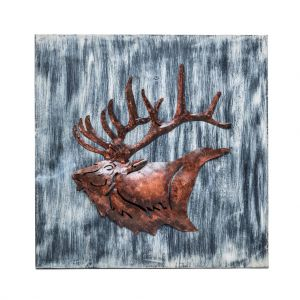 Wall Art 3D Display Reindeer Wooden Iron Handmade Decor