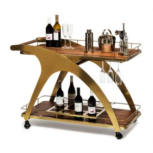 French Brass Drinks Trolley Bar Cart Contemporary Wine Storage with Wood Top