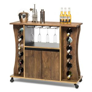 Wooden Bar Cart Wine Storage Rack Contemporary Drinks Cabinet