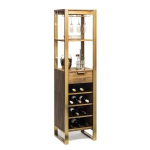 Wooden Wine Rack Bar Cart Storage Tower with Drawer