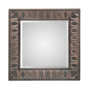 Square Copper Wall Mirror with Embossed Frame