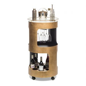 Round Bar Cart Cabinet Drinks Trolley Contemporary Wine Storage with Marble Top