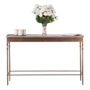 Wooden Finial Console Table - Brass Finish