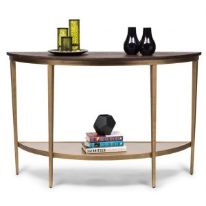 Half Round Hallway Console Table with Wood Top – French Brass