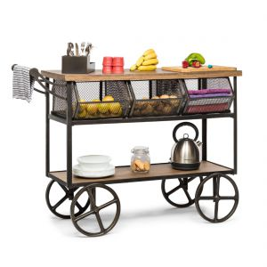 Kitchen Storage Wooden Iron Trolley with 3 Baskets
