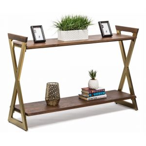 Wooden Iron Console Table with 2 Shelves