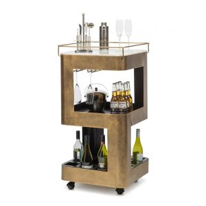 Bar Cabinet Trolley Cart Industrial Contemporary Wine Storage Mobile Marble Top