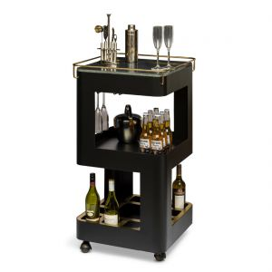Bar Cabinet Black Gold Drinks Trolley Cart Contemporary Wine Storage with Black Marble Top
