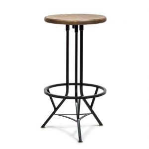 Swivel Industrial Iron Bar Stool with Wood Top - Black Rustic