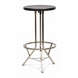Swivel Industrial Iron Bar Stool with Wood Top - Nickel Black