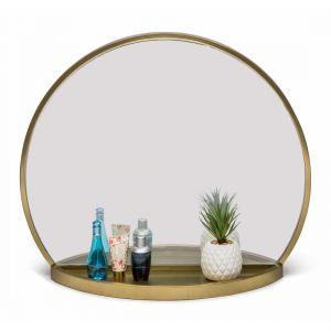 Wall Table Mirror Round Gold Dressing Bathroom Vanity Entrance Iron with Shelf